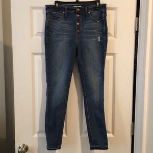 "Madewell 10"" high rise skinny jean Button Front"